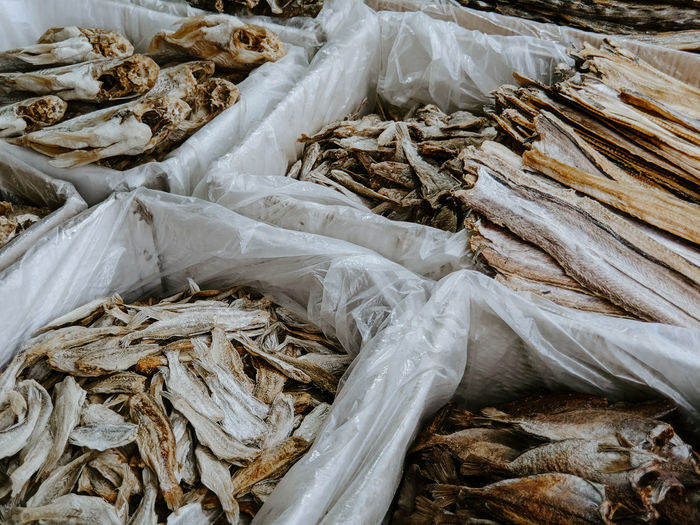 High angle view of dried fishes for sale at market
