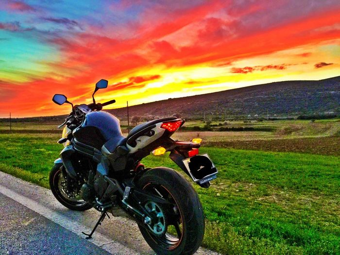 Sunset at Patones, Spain 🇪🇸 Motorcycle Road Sunset Cloud - Sky Nature Grass