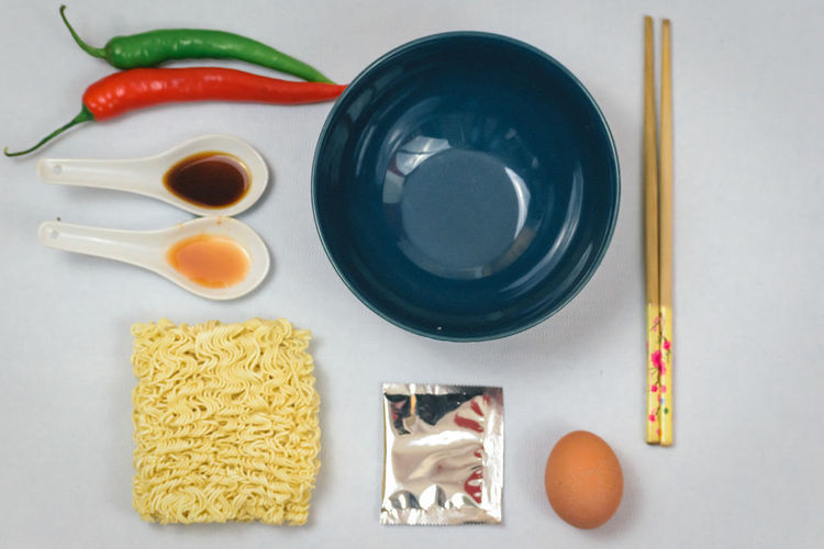 Directly Above Food Freshness Close-up Full Frame Decomposed Beautifully Organized Healthy Eating Abstract White Background Dry Noodles Dry Noodles Chopsticks Egg Preparing Food Copy Space Chili Pepper Ready-to-eat Bowl Chopstick Soja Sauce Spices Decomposing Meal Textured