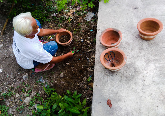Old Woman EyeEm Selects High Angle View Full Length Gardening Equipment Flower Pot Planting