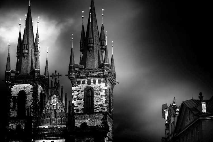 Prague I EyeEm Best Shots Prague Black And White Mood Place of Heart EyeEmBestPics Dream Contrast Church Cathedral darkness and light Place Of Worship Politics And Government Skyscraper Clock