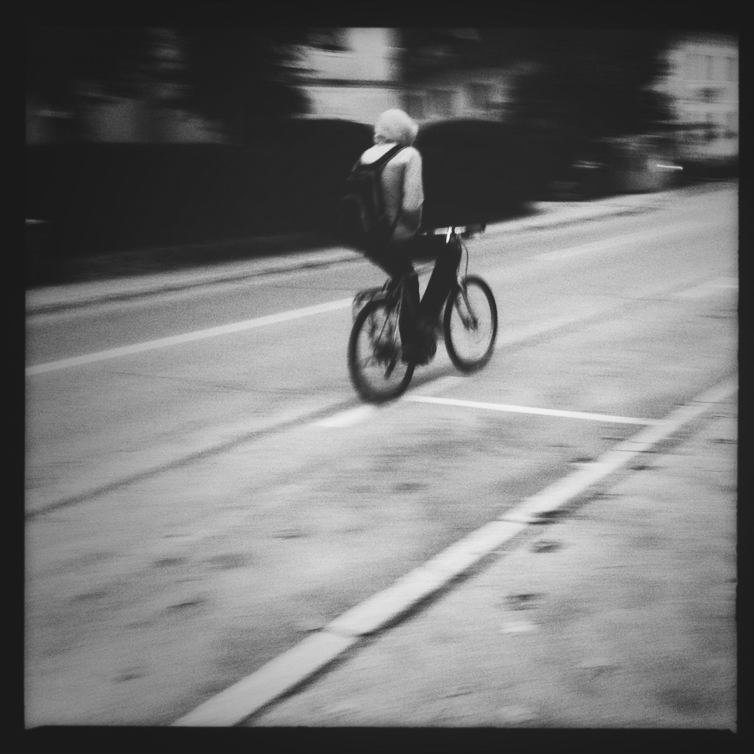 transportation, land vehicle, mode of transport, bicycle, street, road, on the move, riding, blurred motion, car, motion, road marking, travel, cycling, shadow, full length, lifestyles, auto post production filter