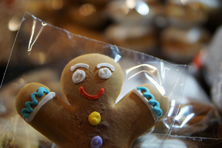 Close-up of gingerbread cookie in plastic