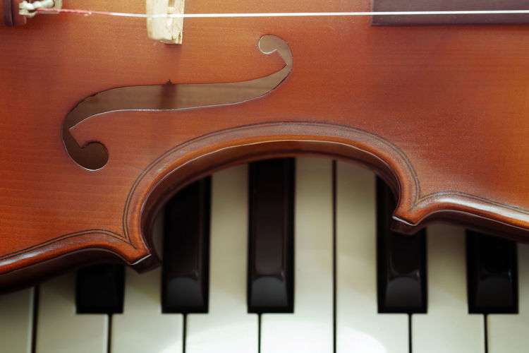 Piano keyboard with violin,top view Musical Instrument Musical Equipment Music Arts Culture And Entertainment String Instrument No People Piano String Brown Close-up Indoors  Musical Instrument String Wood - Material Violin Piano Key Black Color Focus On Foreground Full Frame White Color Classical Music
