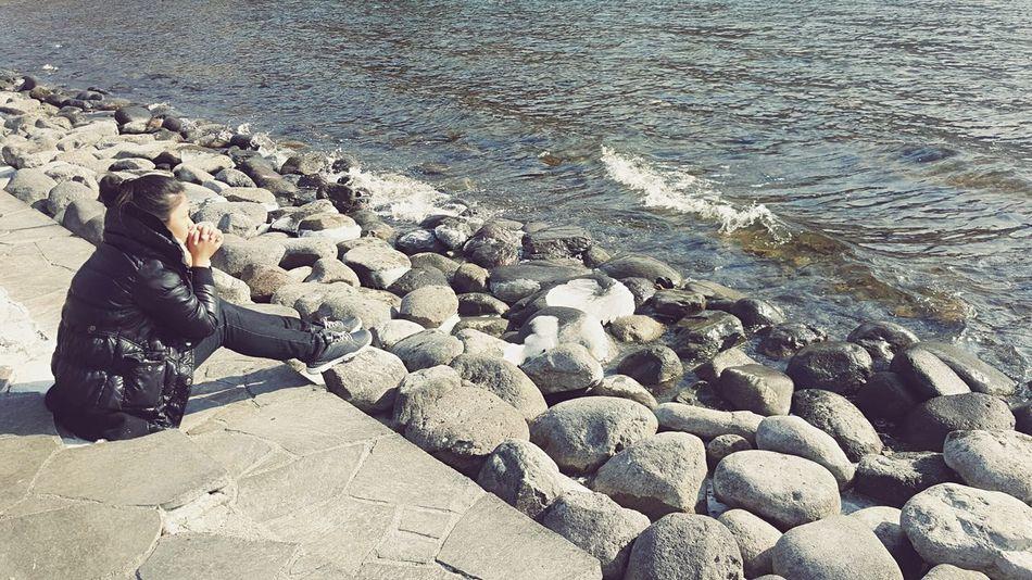 Travel In Japan Chuzenji-Lake Lake Cold Freezing Whether Cold Whether Woman Waiting Praying Alone Time Alone Siting,waiting,wishing  Chilling Lake Rocks Ice Ultimate Japan My Favorite Place