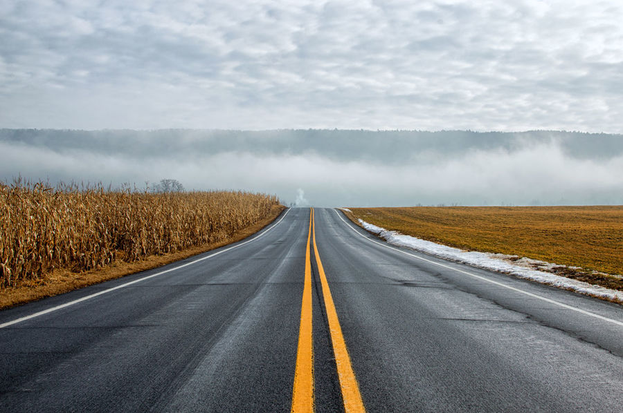 Foggy Day Road The Way Forward Back Roads Landscape Outdoors Day Scenics Cloud - Sky Nature Rural Scene Beauty In Nature No People Sky Autumn