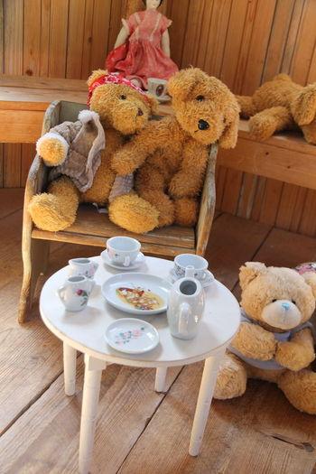 Teddy Bears On Chair With Table
