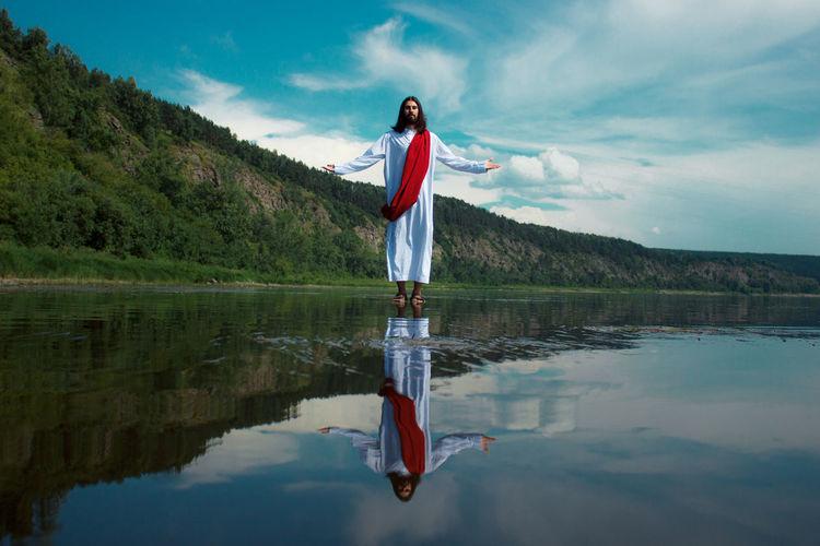 Jesus christ walks on water