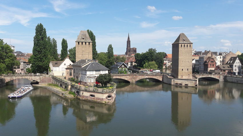 Strasbourg France Water Water Reflections Flowing Water Boat Water Boat Strasbourg Cathedral Church Tower Panoramic Panoramic View Summer Colors