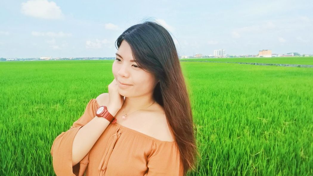 When is the last time you went to a paddy field? Nostalgia Long Hair Sky Green Color Outdoors Beauty Paddy Paddy Field