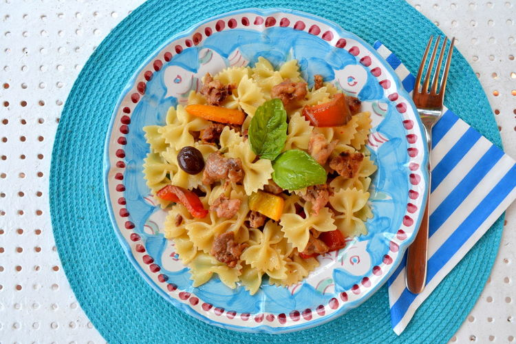 Lunch Salad Black Olive Blue Close-up Day Farfalle Food Food And Drink Freshness Fruit Healthy Eating Healthy Food Healthy Lifestyle High Angle View Indoors  Italian Food Lifestyles No People Pasta Plate Ready-to-eat Summer Tablecloth Tomato