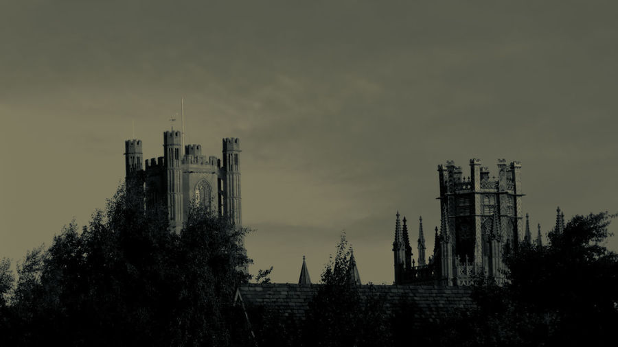Ely Cathedral in black and white Ely Cathedral Architecture Black And White Building Exterior Built Structure Day Low Angle View Nature No People Outdoors Silhouette Sky Smoke Stack Tall Tree