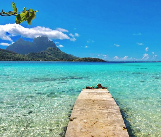 Relaxing Keep Calm Beachphotography Relax Nature Photography BoraBora Thankyou Water Sky Sea Beauty In Nature Scenics - Nature Nature Day Blue Beach Real People Lifestyles Sunlight Tranquil Scene Tranquility Women Turquoise Colored