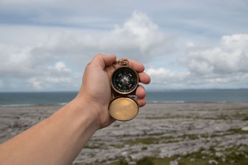 Cropped image of hand holding compass against sky