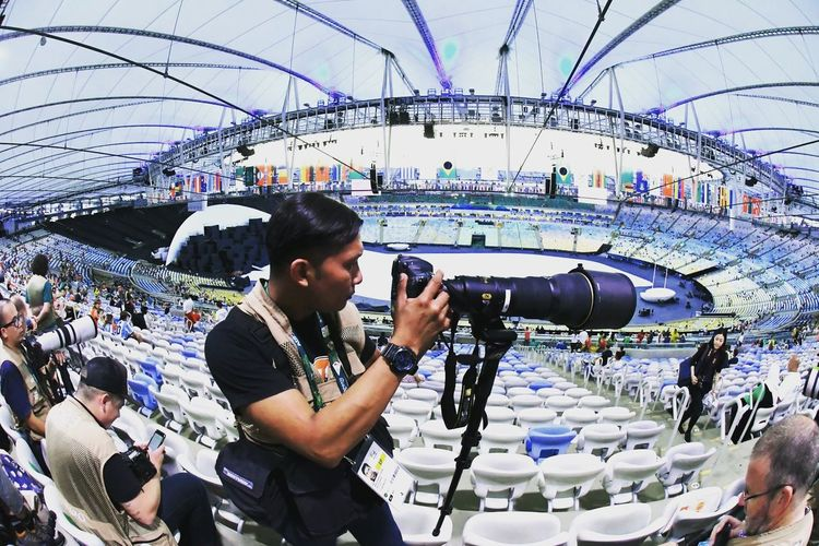 Opening Olympic Games 2016 at Maracana Stadium Rio De Janeiro, Brazil. Indoors  People Camera - Photographic Equipment One Person Industry Beauty In Nature Looking At Camera Human Representation Landscape