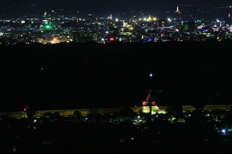Night Illuminated No People Architecture Sky City Nature Cityscape Outdoors Built Structure Reflection Water Glowing Building Exterior Arts Culture And Entertainment Lighting Equipment Light - Natural Phenomenon Multi Colored Beauty In Nature Nightlife Mandalay,Myanmar