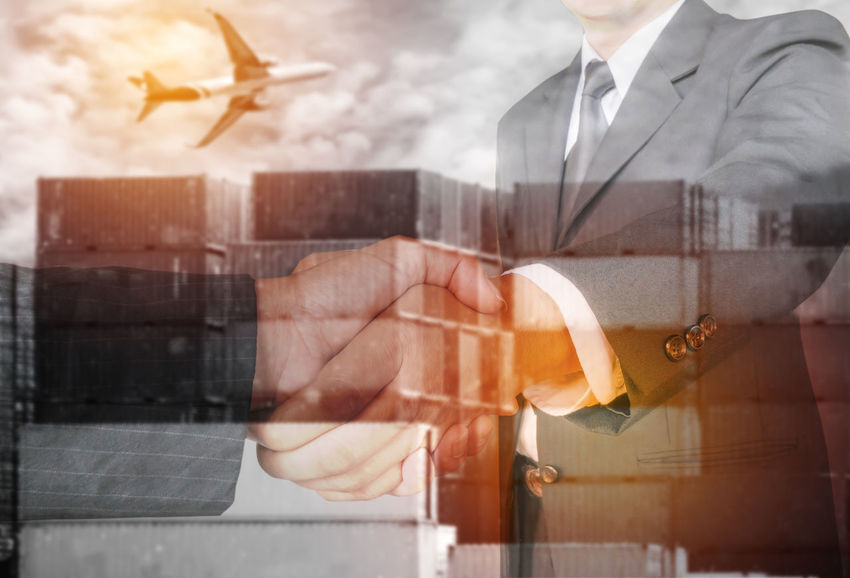 Container Double Exposure Industry Logistics Suit Teamwork Transportation Agreement Airplane Business Finance And Industry Business People Cargo Warehouse Concept Coperate Exportimport Global Communications Hand Handshake Internaional Foodmarket Partnersingrime Shipping  Shipping Docks Success Successful Trade