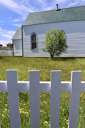 EyeEm Best Shots Newfoundland, Canada Church Architecture Country Life Religion Architecture Summer Tree And Grass White Picket Fence