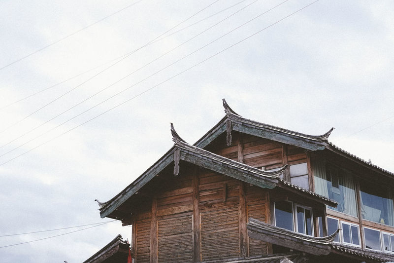 Architecture Building Exterior Built Structure Cable China Cloud - Sky Day Lijiang Local Low Angle View No People Outdoors Sky