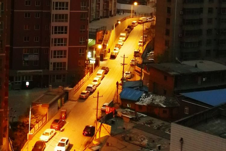 City City Street Car Street Building Exterior Night City Life Traffic Built Structure Road Outdoors Skyscraper High Angle View