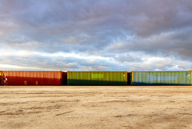 Cloud - Sky Cargo Container Container Land Outdoors Sky Freight Transportation In A Row
