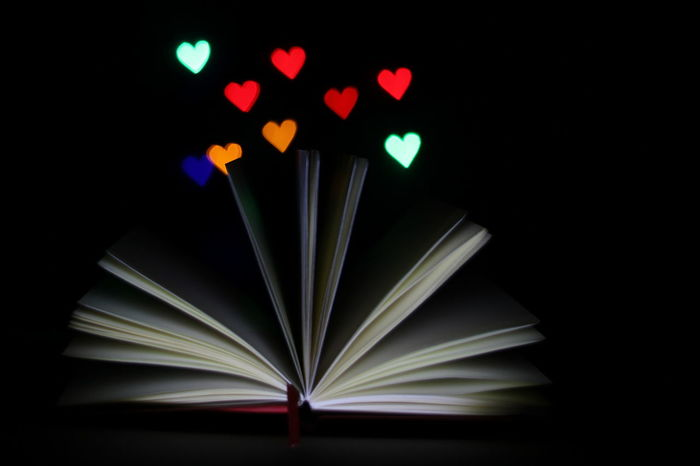 Abstract Black Background Book, Close-up Dark Electric Light Glowing Hearts Illuminated Light Lighting Equipment Love Low Angle View Multi Colored New Year Lights Night No People Notebook Notes From The Underground Paper