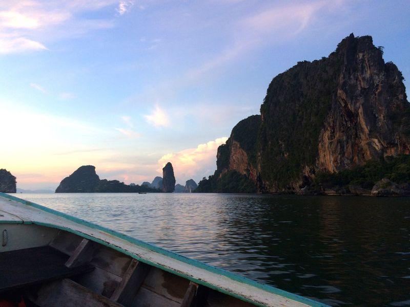 Traveling Sunrise Thailand Boat Nature Water Sky Islands
