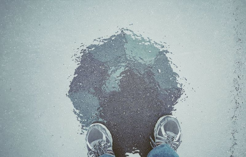One Person Rainy Rainy Days Rainy Days☔ Umbrella Blue Umbrella Blue Top Down View Silhouette Self Portrait