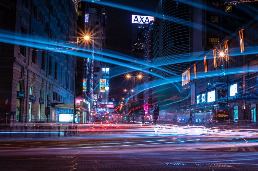 City Cityscape Illuminated Motion Urban Skyline Long Exposure Light Trail Speed City Life Blurred Motion