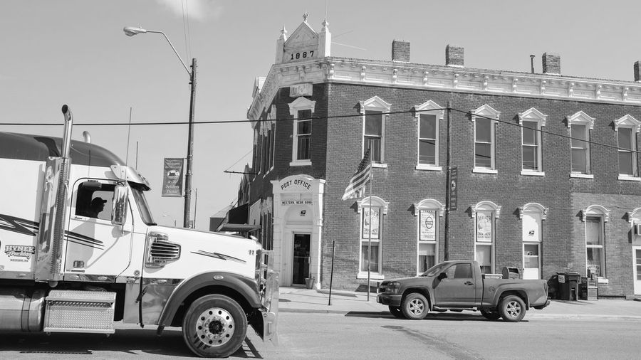 Visual Journal August 2017 Western, Nebraska A Day In The Life Big Rig Camera Work Everyday Lives Juxtaposition Main Street USA Small Town America Traffic Visual Journal Always Taking Photos B&w Street Photography Big And Small Front Yard Photography Fujifilm_xseries Monochrome My Neighborhood Photo Diary Pickup Truck Schwarzweiß Small Town Life Small Town Stories Streetphotography Trucks