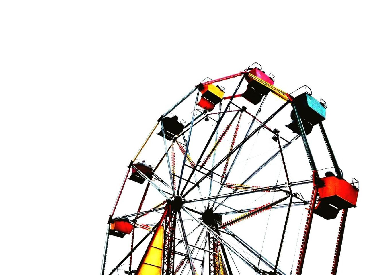 arts culture and entertainment, amusement park, amusement park ride, copy space, leisure activity, clear sky, ferris wheel, white background, low angle view, day, outdoors, no people