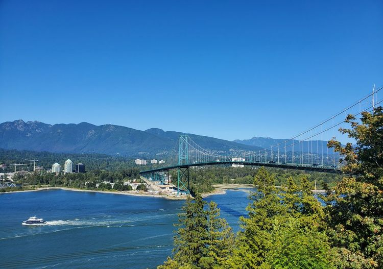 Scenic view of bridge over river against clear blue sky