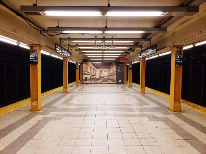 View of empty subway station