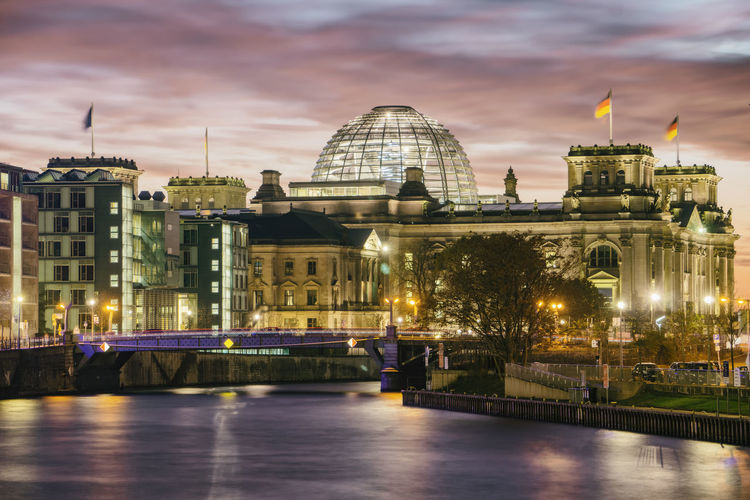 Reichstag Building with Spree River at Dusk Berlin Germany 🇩🇪 Deutschland Horizontal No People Outdoors Building Exterior Illuminated Architecture Built Structure City Sky Building Water Nature Reichstag Reichstag Building Dusk Sunset Spree River Cloud - Sky Bridge History Government Famous Place Reflection