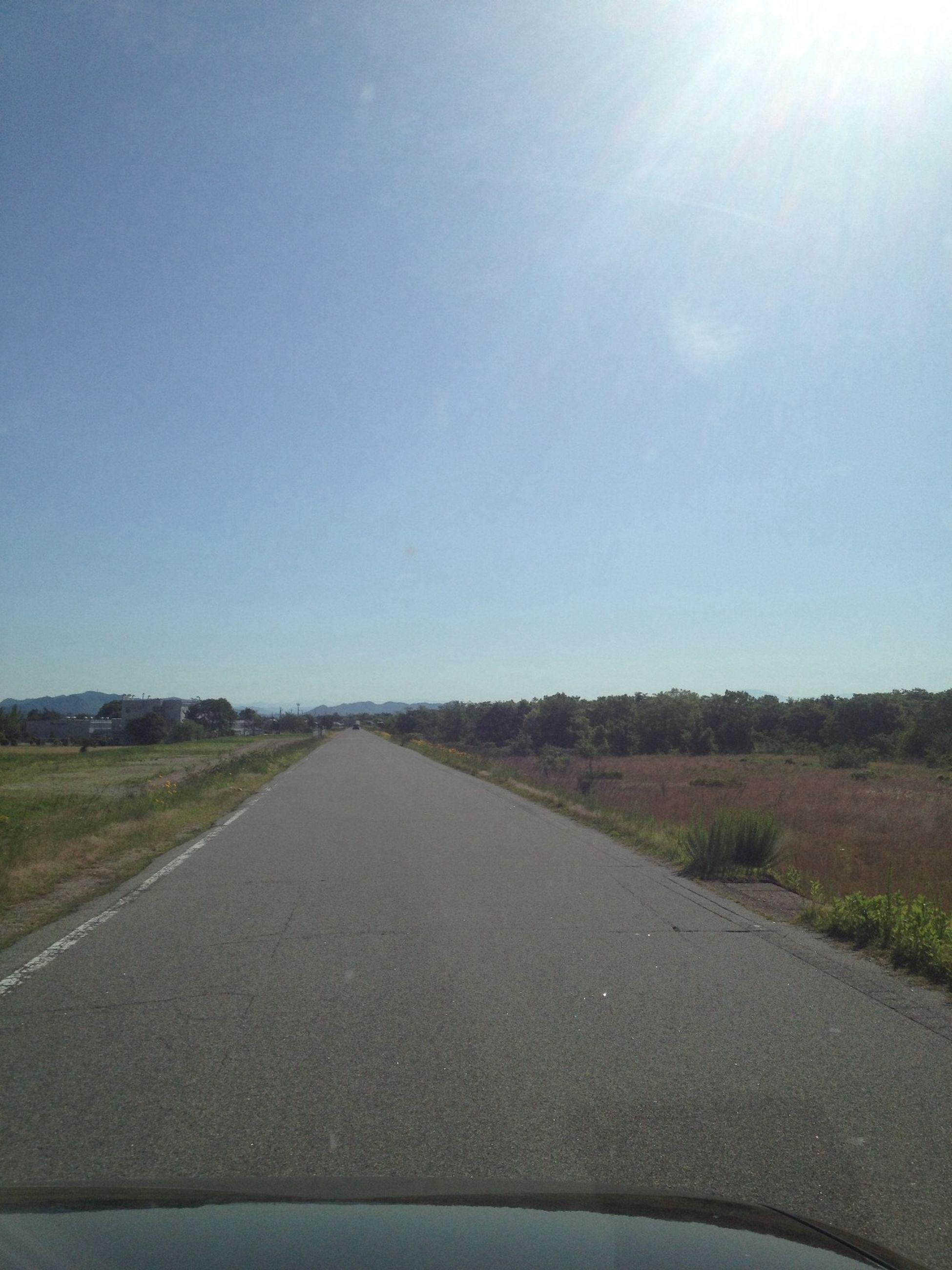 the way forward, road, transportation, diminishing perspective, vanishing point, road marking, country road, clear sky, tranquility, sky, tranquil scene, asphalt, empty road, landscape, copy space, nature, empty, street, day, tree