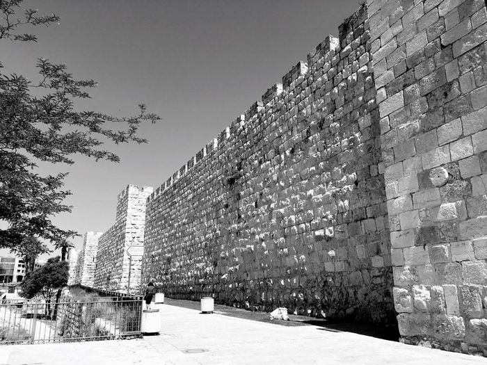The ramparts of Jerusalem, near Jaffa's Gate. Ramparts Rampart Wall Walls Stone Wall Stone Blackandwhite Black And White Blackandwhite Photography Black And White Photography Black&white Black And White Collection