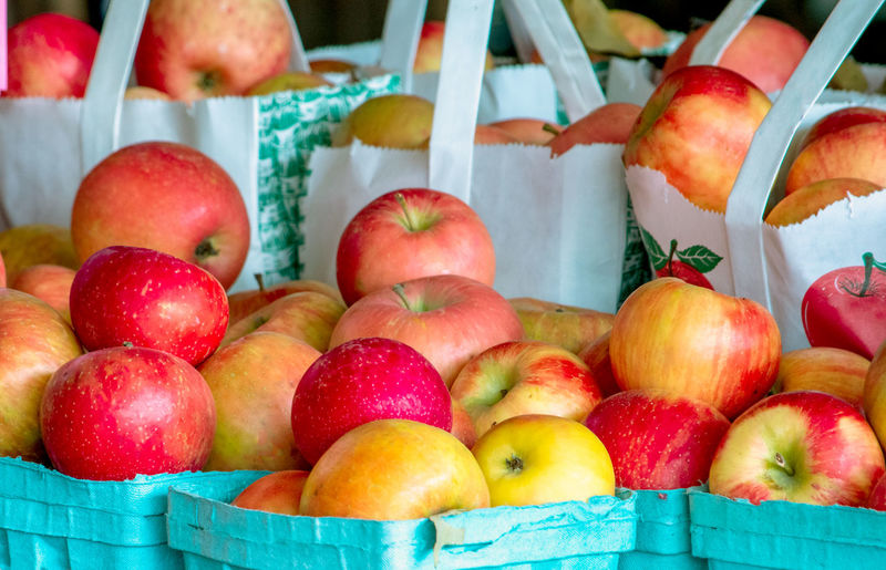 Close-up of apples in basket for sale at market stall