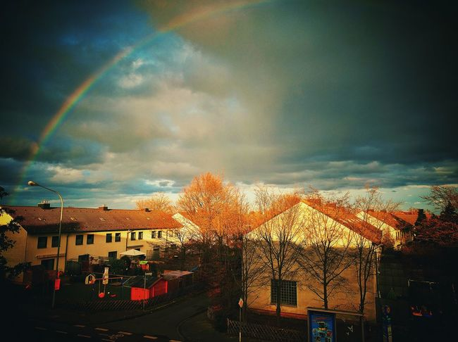 Rainbow Rainbows Sky Clouds Clouds Sky Colers Colerfull Town After Rain Rainbow Colors Yellow Green Blue Sky And Clouds