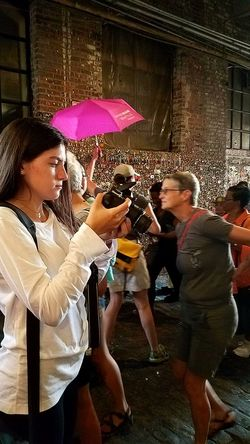 Street Photography Color Palette Portrait Of A Woman Taking Photos Check This Out Candid Photography Hello World Best Of EyeEm EyeEm Gallery People In Motion People Watching The Week On EyeEem Post Alley Gum Wall Seattle, Washington