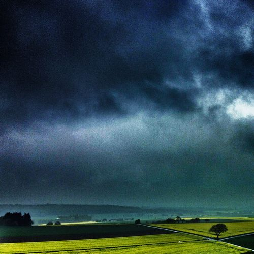Wetterau Landscape Snapseed Summer EyeEm Best Edits EyeEm Nature Lover Light And Shadow EyeEm Best Shots Nature_collection Clouds And Sky No People Aerial View Dramatic Sky Germany Edit Tree Agriculture Mood Green Yellow Fields