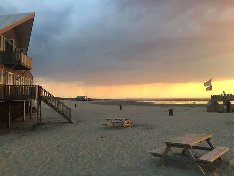 Sea Sunset Beach Sky Sand Nature Water Tranquility Beauty In Nature Outdoors Lifeguard Hut Tranquil Scene Scenics No People Day