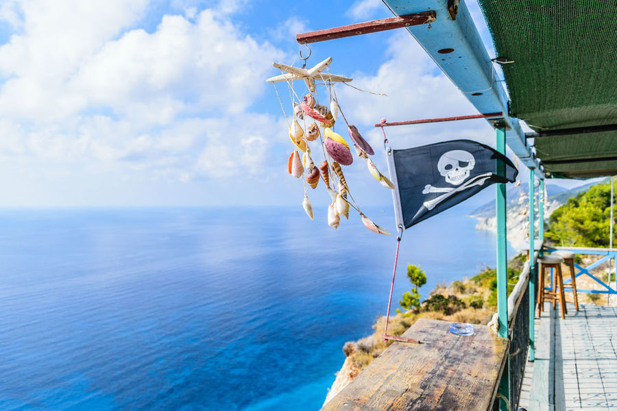 Best View Of The World Blue Sea Chilling Pirate Flag View Best View Blue Sky Blue Sky And Clouds Flag Greece Lefkada Sea Summer