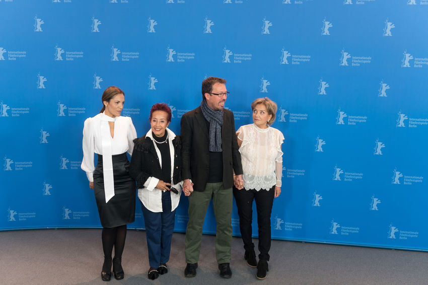 Berlin, Germany - February 16, 2018: Ana Ivanova, Margarita Irun, Marcelo Martinessi and Ana Brun pose before the press conference of the film 'The Heiresses' (Las Herederas) during the 68th Berlinale Actor Fame Famous Film Festival Looking At Camera Actress Adult Adults Only Arts Arts Culture And Entertainment Berlinale Berlinale 2018 Berlinale2018 Cinema Entertainment Entertainment Event Film Industry Front View Group Of People People Portrait Press Conference Red Carpet Event Standing Star