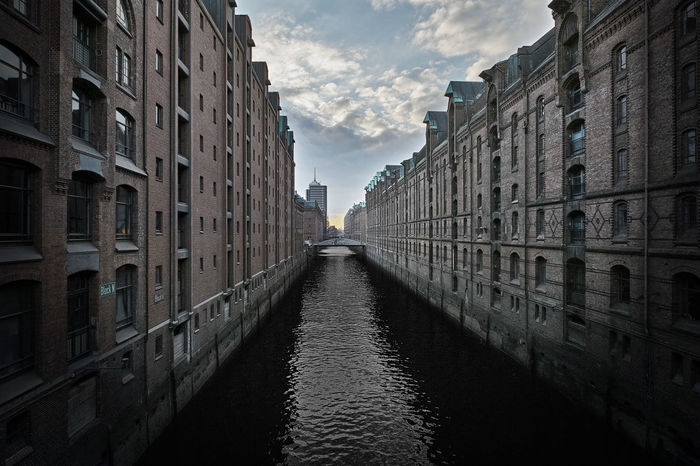 Hamburg Speicherstadt Architecture Building Building Exterior Built Structure Canal City City Life Cityscapes Cloud - Sky Day Diminishing Perspective Hamburg No People Outdoors Reflection Residential Building Residential Structure Rippled River Sky The Way Forward Water Waterfront