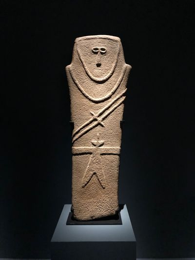 Funerary stele 3000-4000 BCE Saudi Arabia 🇸🇦 Middle East Saudi Arabia Sandstone Stone Funeral Funerary IPhone Photography Stone Indoors  Black Background Studio Shot No People Still Life Close-up Creativity Representation Single Object Art And Craft Copy Space Human Representation