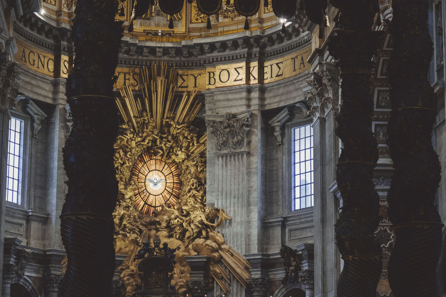 San Pietro In Vaticano Architectural Column Architecture Building Exterior Built Structure Day History Human Representation Indoors  Low Angle View No People Ornate Sculpture Statue Travel Destinations