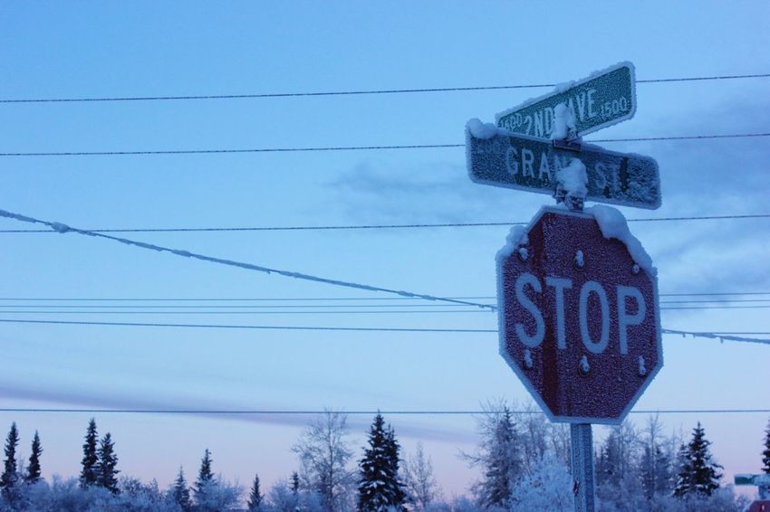 Road Sign No People Outdoors Fairbanks Low Angle View Sky Alaska Cold Temperature Winter Snow Cold Stop Sign Freezing Cold Freezing