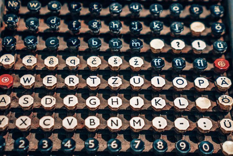 Keys of an old typewriter. old mechanism. secret message.