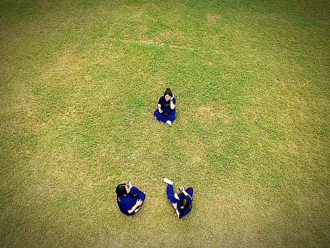 3 pe High Angle View Playing Field Grass People Day Real People First Eyeem Photo ople