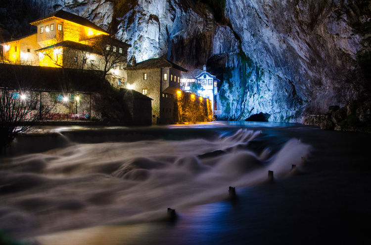 Blagaj Herzegovina Tekia Architecture Beauty In Nature Illuminated Nature Night No People Outdoors Rock - Object Water